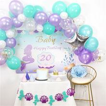 Mermaids Balloons Decor Baby Shower 1st Birthday Party Decoration Kids Favor little I Am One Boy Girl Banner Supplies