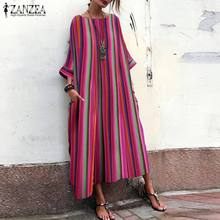 Plus Size Women Long Maxi Dress Sundress 2019 ZANZEA Fashion Ladies Casual Baggy Vestidos Vintage Bohemian Summer Robe Femme