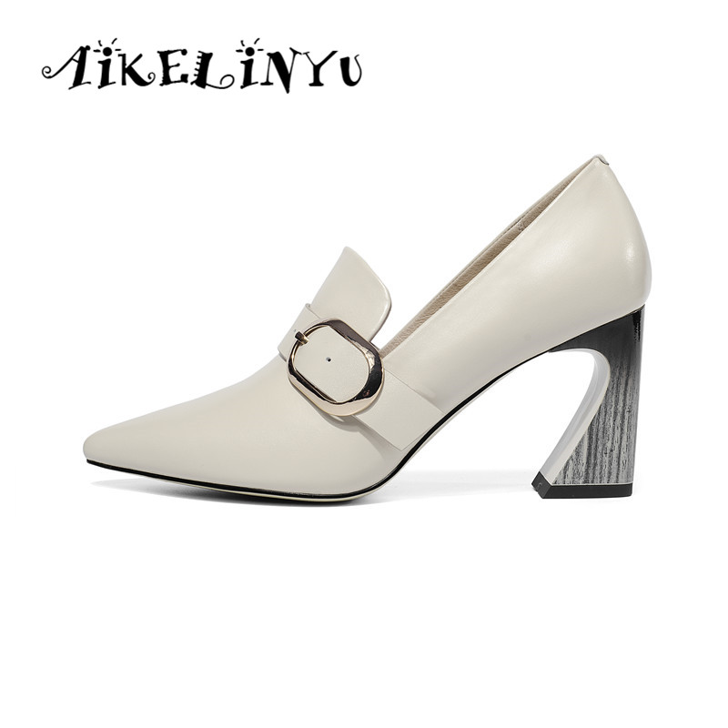 AIKELINYU 2019 New Spring Women Cow Leather High Heels Shoes Pumps Patent Elegant Dress Pointy Easy