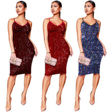 MUXU sexy red sequin dress glitter fashion woman clothes bodycon vestidos party dresses sukienka kleider suspender backless