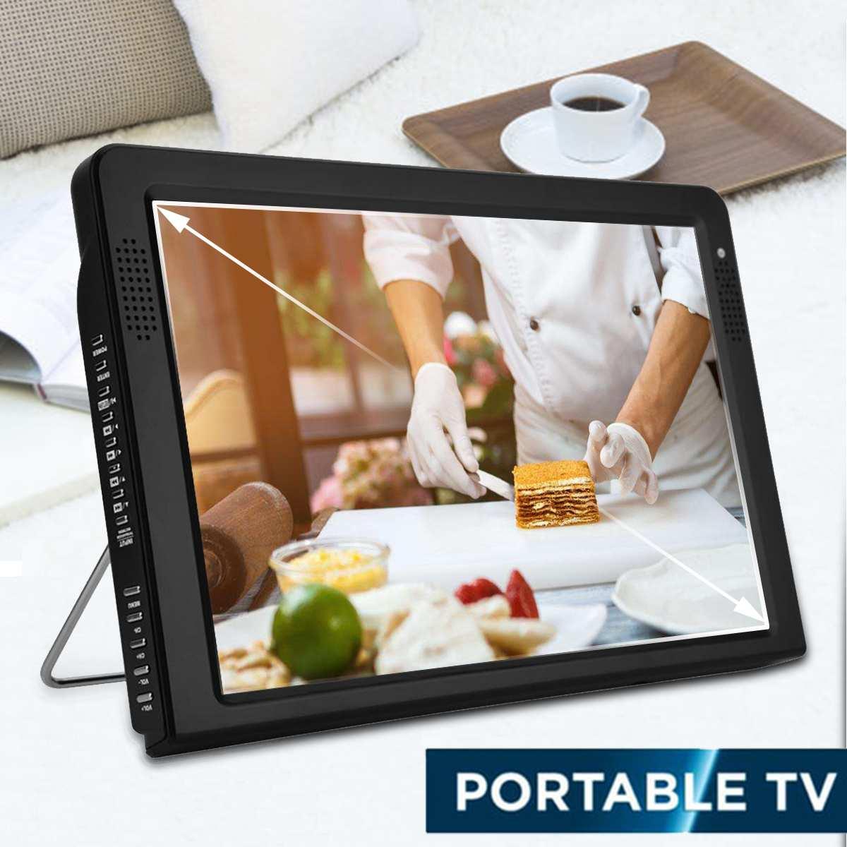 12 pouces Portable Mini numérique couleur analogique LED TV DVB-T DVB-T2 lecteur de télévision Rechargeable TFT-LED écran ATSC/HDMI entrée