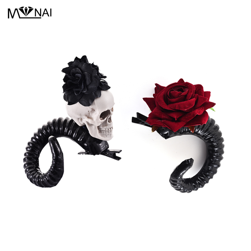 Demon Evil Gothic Lolita Skull Sheep horn Hair Clip Accessory Cosplay Costumes Halloween Party Hairpin Headwear Prop