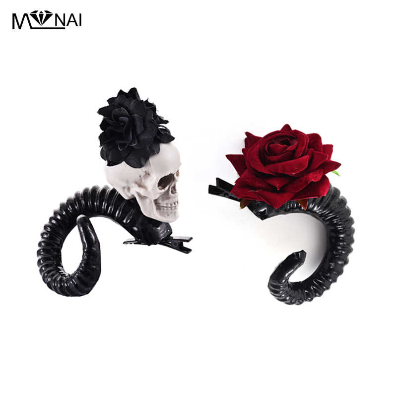 Demon Evil Gothic Lolita Skull Sheep horn Hair Clip Accessory Cosplay  Costumes Halloween Party Hairpin Headwear 56a5a8dc98b6