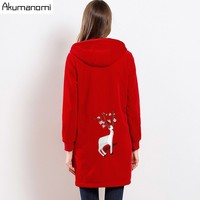 Women's Velvet Coats Windbreaker Plus Size Female Trench Red Hooded Full Sleeve Pocket Sika Deer Embroidery Long Trench 5XL M
