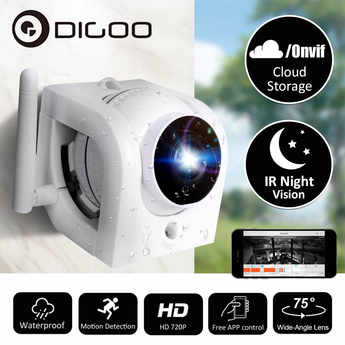 DIGOO DG W02f Cloud Storage Outdoor WIFI Security IP Camera 1080P Video Surveillance Camera Waterproof Motion Detect Onvif|Surveillance Cameras| |  - title=