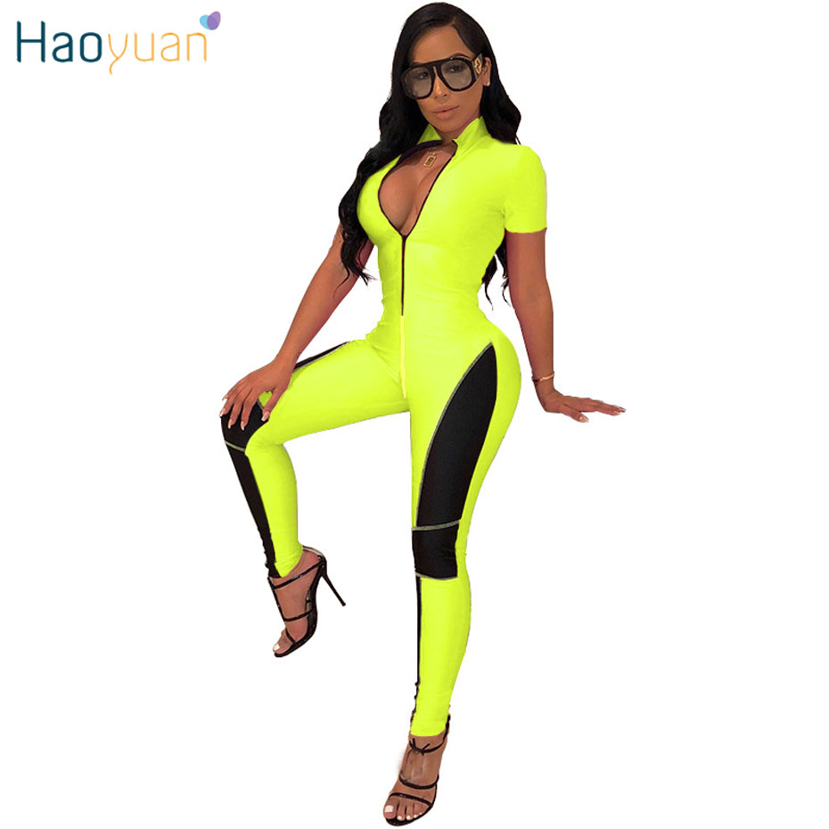 HAOYUAN Neon Green Fitness Rompers Womens   Jumpsuit   2019 Streetwear Summer Overalls One Piece Body Mujer Sexy Bodycon   Jumpsuit