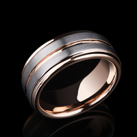 2019 New Arrival Casual 8mm Width Tungsten Engagement Rings for Woman Man Rose Gold Plating Inside Brushed Finished Outside 7 11