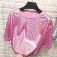 Новые летние стильные яркие шелковые женские топы в стиле ретро, блестящие свободные футболки с короткими рукавами, сексуальная клубная Эс...