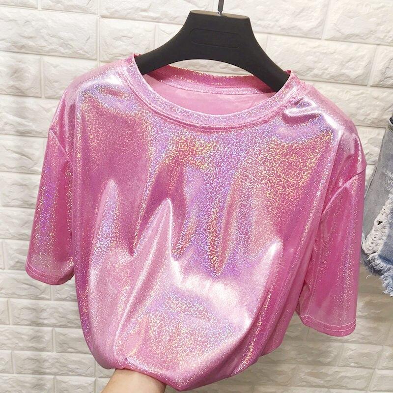 Nuevo verano retro estilo elegante brillante de seda Mujer tops brillante suelto Camiseta de manga corta, sexy, para club, estética harajuku mujeres camiseta