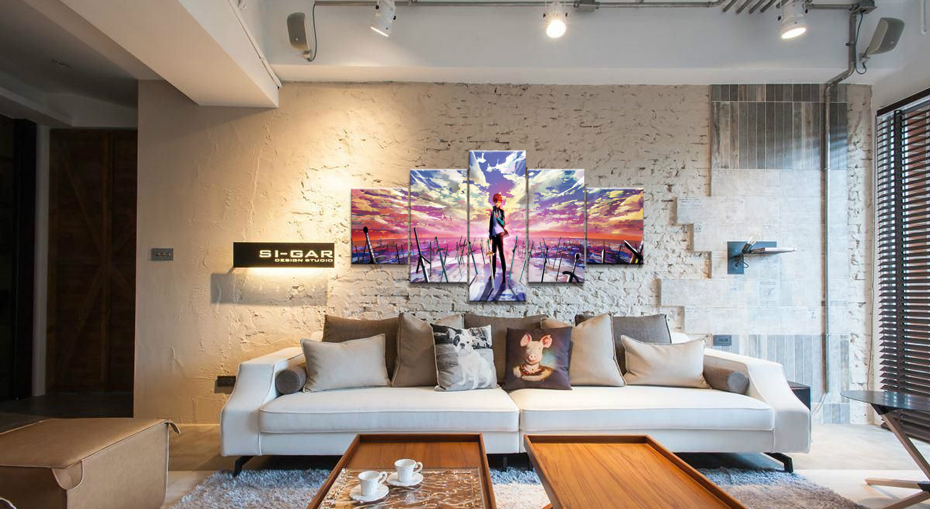 Home Decor Modular Canvas Picture 5 Piece Fate Stay Night Shirou Emiya Animation Painting Poster Wall For Home Canvas Wholesale in Painting Calligraphy from Home Garden