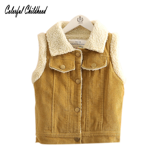 a4661b415e34 Thick kids vest autumn Corduroy boy girls vest warm toddler baby ...