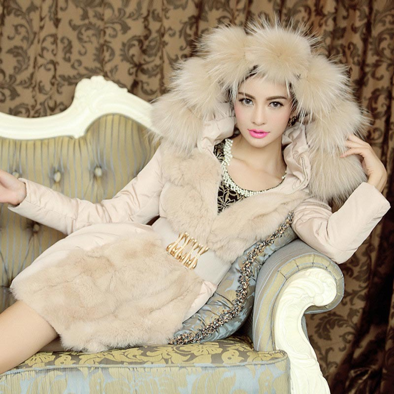 Autumn Winter Jackets and Coats Women Down Jacket   Parka   Fur Ladies Slim Hoodies Long Cheap Coat Belt Manteau Femme