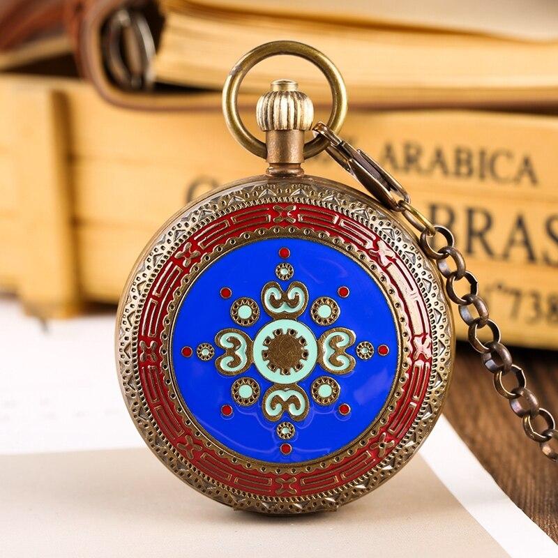 Retro Copper Mechanical Pocket Watch Luxury Tourbillon Phases Moon Sun Automatic Hand Winding Vintage Clocks For Men Women Chain