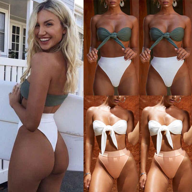 a1bd6cb047 Detail Feedback Questions about Women High Waist Two Piece Bikini Set  Ladies Strapless Bandage Bathing Suit Swimwear Swimsuit Beachwear on  Aliexpress.com ...