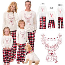 New Cute Family Matching Christmas Deer Pajamas Sets Adults Dad Mom Kids Plaid Pants Xmas Sleepwear Nightwear Casual Outfits(China)