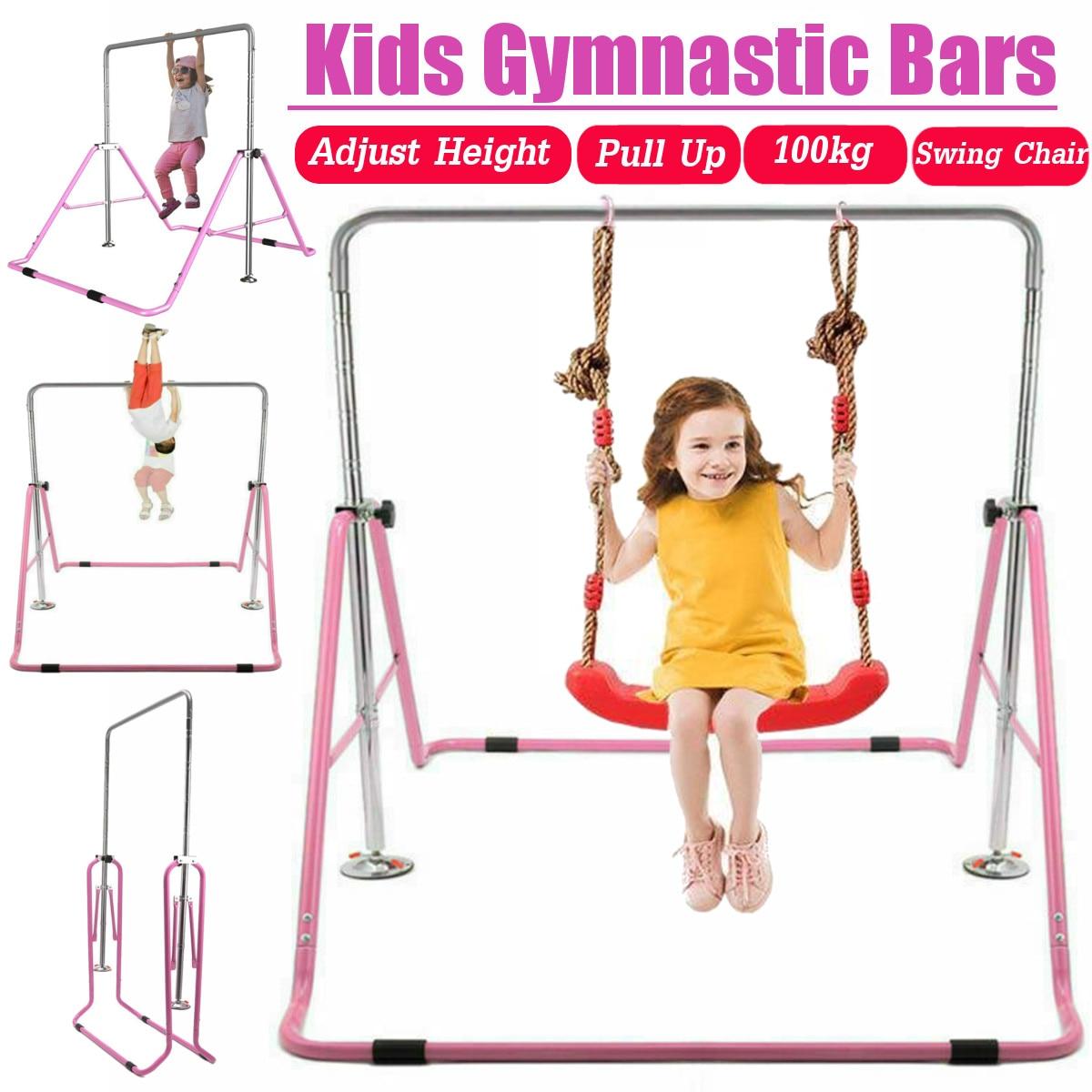 Barres horizontales réglables d'enfants pliant l'équipement de forme physique de gymnase de taille d'articulation d'épaule de traction d'intérieur d'enfants