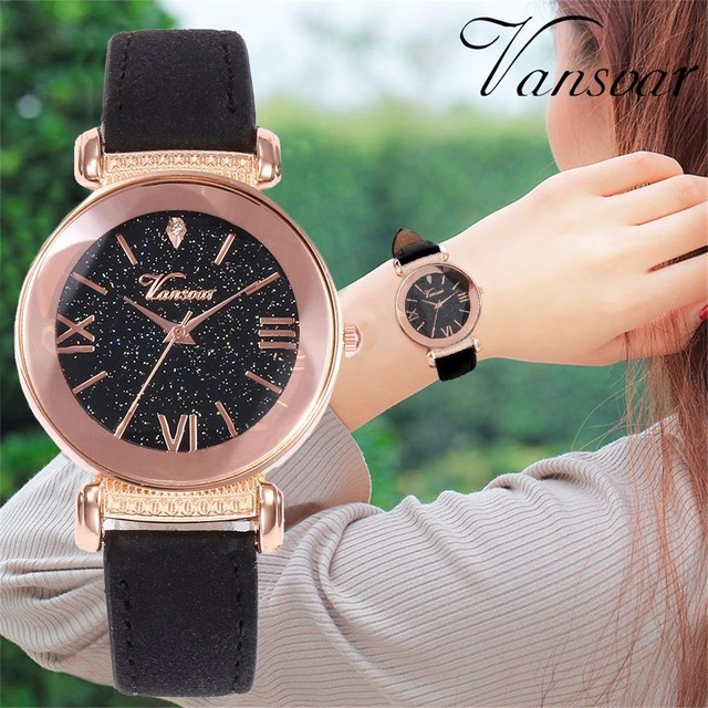 Vansvar Brand Women Starry Sky Watches Ladies Casual Leather Dress Quartz Wrist