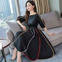 2019 spring new women half sleeve loose flavour black dress long summer vestido Korean fashion outfit O neck big SALE costume