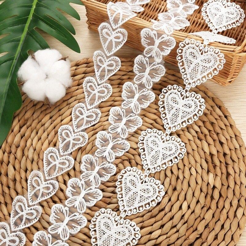 Spitze Trim rand Stickerei herz Schmetterling diy weiß für kinder tragen Kleidung Zubehör 1 Yard/lot