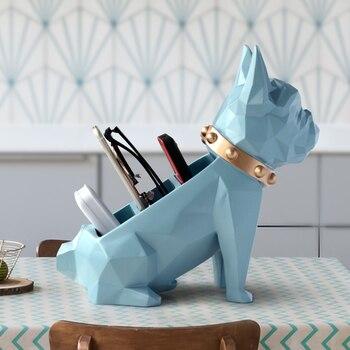 Boîte de rangement pour décoration de la maison | Bureau, outils de téléphone portable, organisateur de commande, figurine de statue de chien en résine pour support de table de bureau
