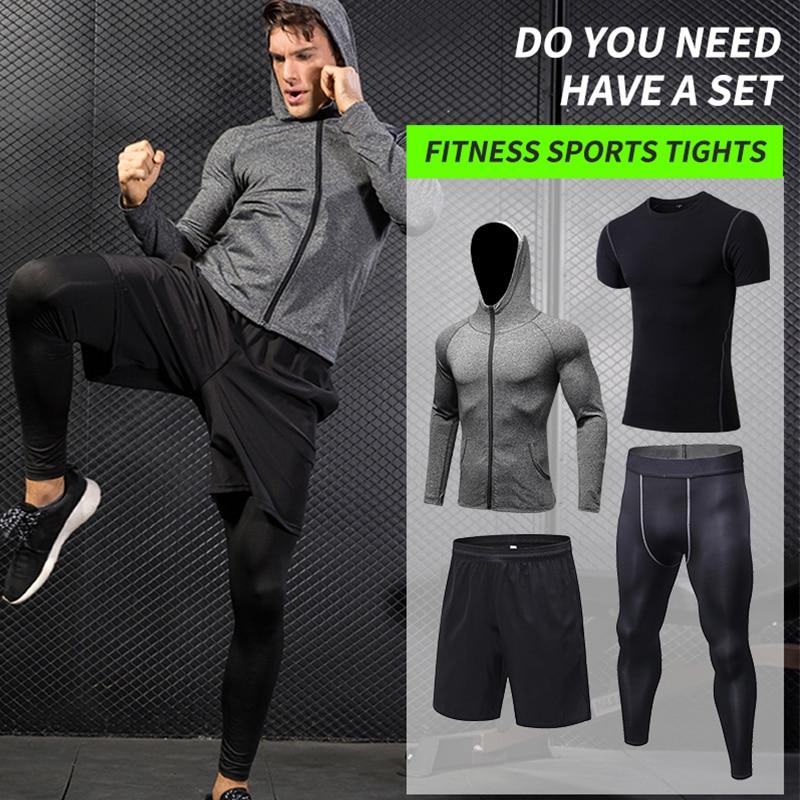 Yuerlian Новые 4 комплекта мужской осенний Спортивная одежда для бега быстросохнущая футболка + молния с капюшоном куртка + свободные шорты + узкие брюки