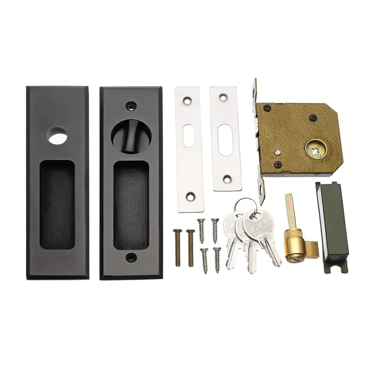 Matte Black Sliding Door Lock Flush Handle Finger Pull Set