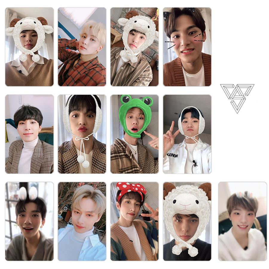 Kpop Seventeen Members Photo Stikcy Card Album You Made My Dawn Crystal Card Sticker Photocard Sticker 13pcs/set