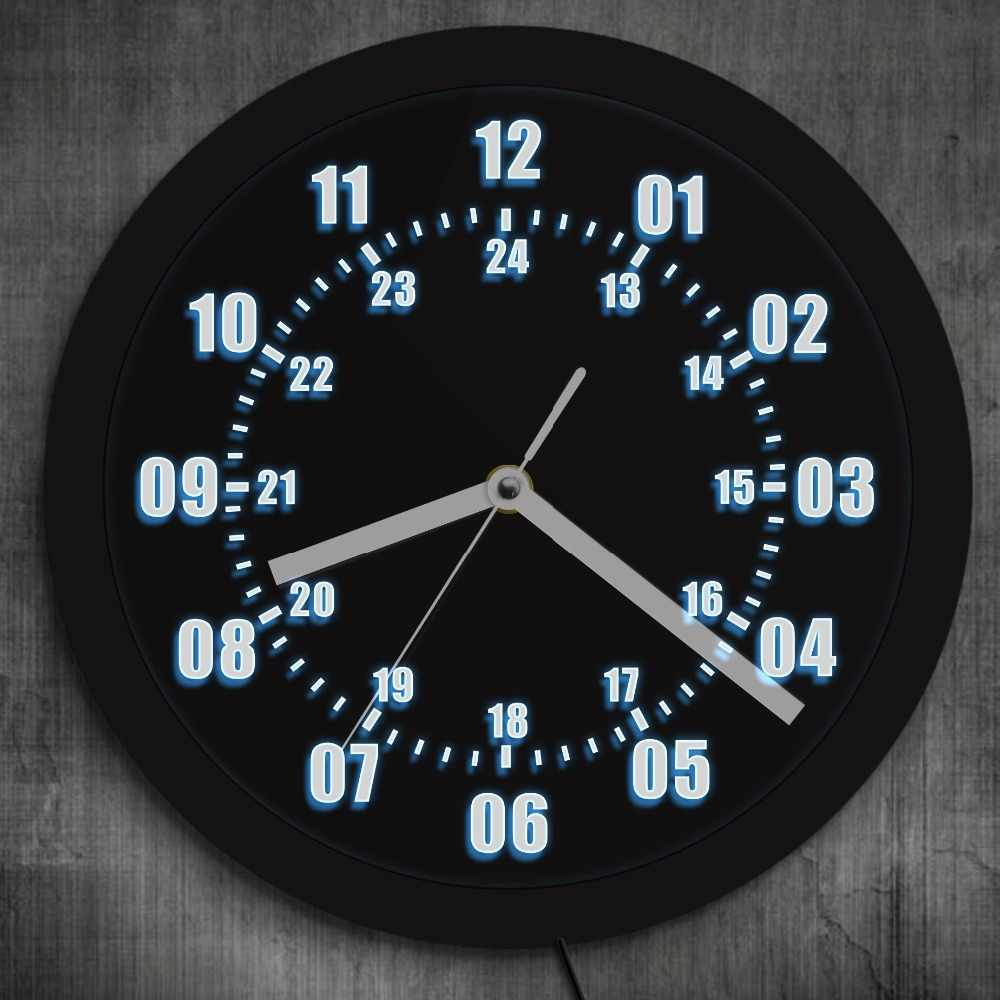 Military Time Clock >> 1piece Military World Time Zone Amateur Neon Led Wall Clock Military Time 24 Hours Display Arba Number Wall Clock Wall Watch