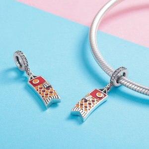 Image 2 - MOWIMO Japan Red Koinobori Charm Bead Fit Original Silver Bracelets Bangles Pendant 925 Sterling Silver Jewelry Making BKC1085