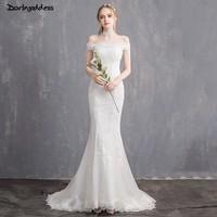 Elegant Lace Mermaid Wedding Dresses 2019 Robe De Mariee Off Shoulder Bridal Gowns Short Sleeves Vestidos De Novia Darlingoddess