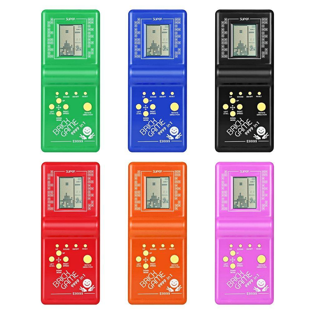 Kids Electronic Tetris Brick Game Handheld Game Machine LCD Educational Toys  Drop Shipping Color Random