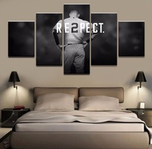 5 Pieces Derek Jeter Baseball Sports Poster Canvas Printed Wall Art Modern Home Decor Pictures Painting