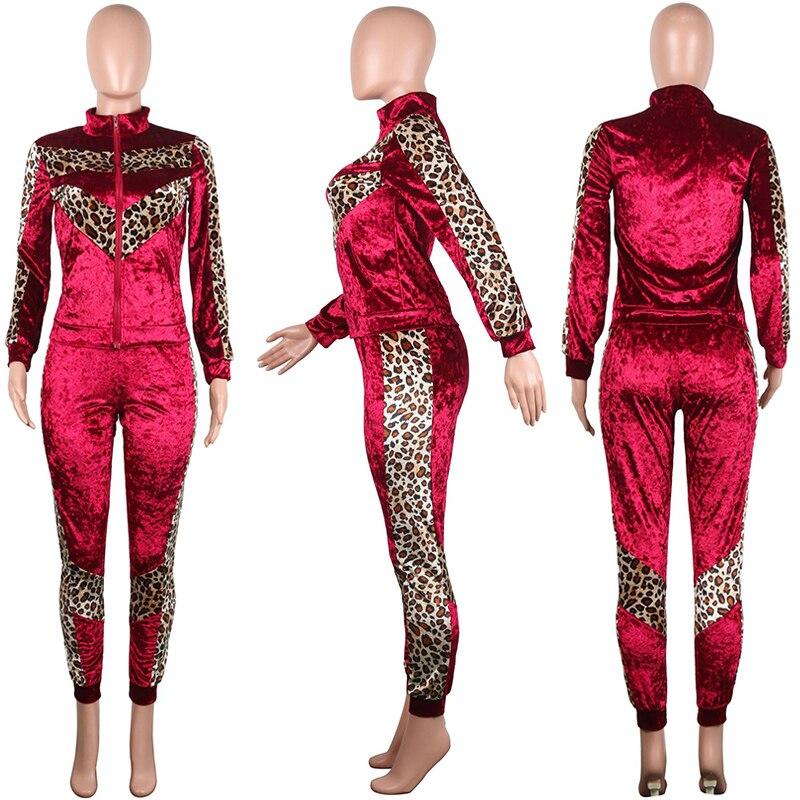 48d2f3c37e US $62.5 |Velvet TWO PIECE SET Leopard Women Leisure Suit Velour Jacket  Jogger Pants Winter Vogue Tracksuit Female Lounge Wear Plus Size-in Women's  ...