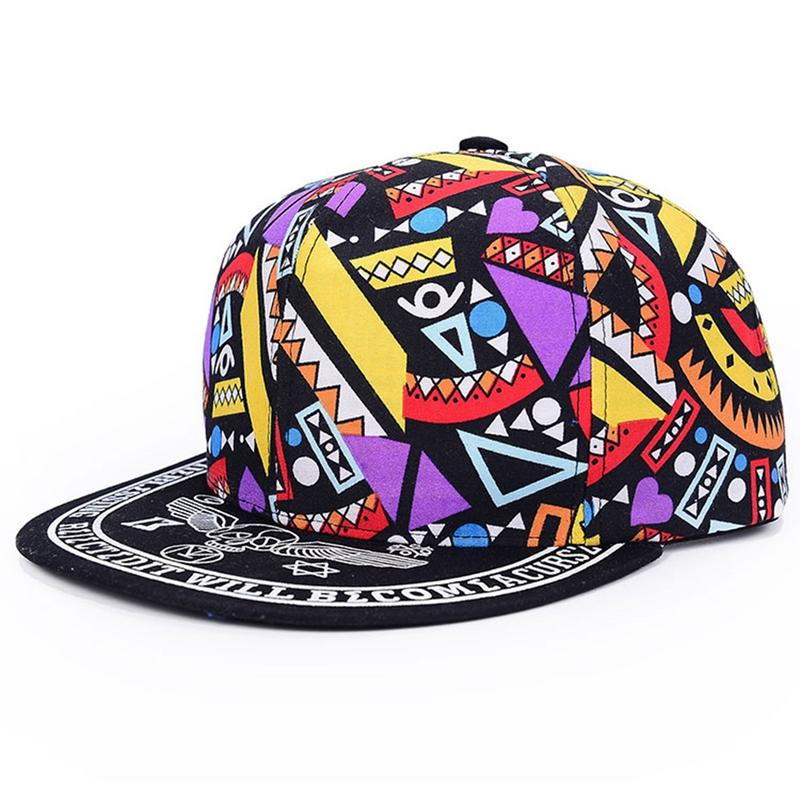 Fashion   Baseball     Cap   Men Hip Hop Streetwear Cotton Adult   Baseball     Cap   Graffiti Totems Print Hip-Pop Hat Unisex