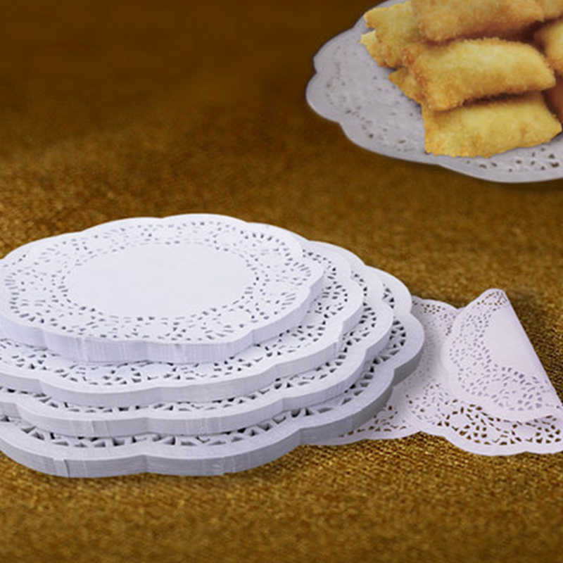 4.5/5.5/6.5/7.5inch 100pcs/lot Round Lace Paper Oil Absorbing Paper Cake Biscuit Decoration Bottom Paper Party Wedding SuppliesX