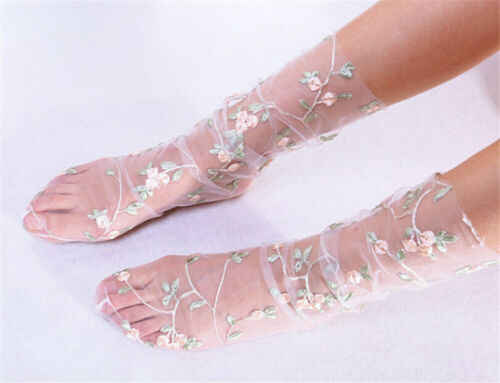 Vintage mujeres señoras Ruffle Bow Fishnet tobillo calcetines altos malla cristal encaje pez red seda flor calcetines negro blanco