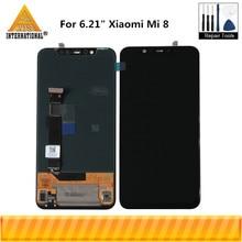 "Axisinternational original 6.21 ""para xiaomi mi8 mi 8 amoled display lcd + digitador da tela de toque para mi8 pro impressão digital na tela"