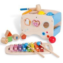 3 in 1 Wooden Educational Set Pounding Bench Toys with Slide out Xylophone and Shape Matching Blocks for Kids Baby Toddlers