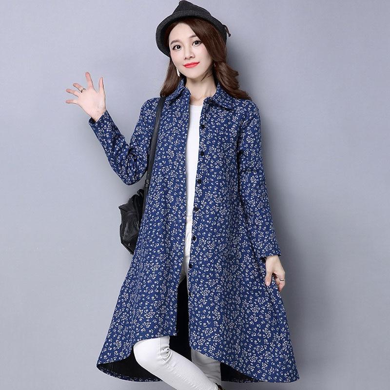 BUYKUD Vintage Shirt-Coats 2018 Autumn Winter New Long Sleeve Printed Coat Office Lady Irregular hem Women Button Linen Coats 3