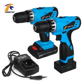 цена на TUNGFULL 21v Cordless Drill 25v Electric Screwdriver Rechargeable Screwdriver Dremel Tools Lithium Battery Drill Bit Two-speed