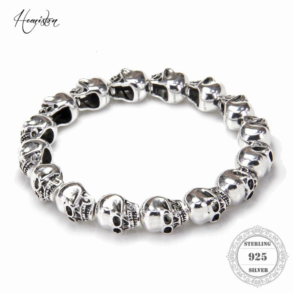 HEMISTON Punk 925 Sterling Silver Skull Beads Bracelets, 14CM-24CM, Fine Jewelry Gift for Women and Men TS 021HEMISTON Punk 925 Sterling Silver Skull Beads Bracelets, 14CM-24CM, Fine Jewelry Gift for Women and Men TS 021