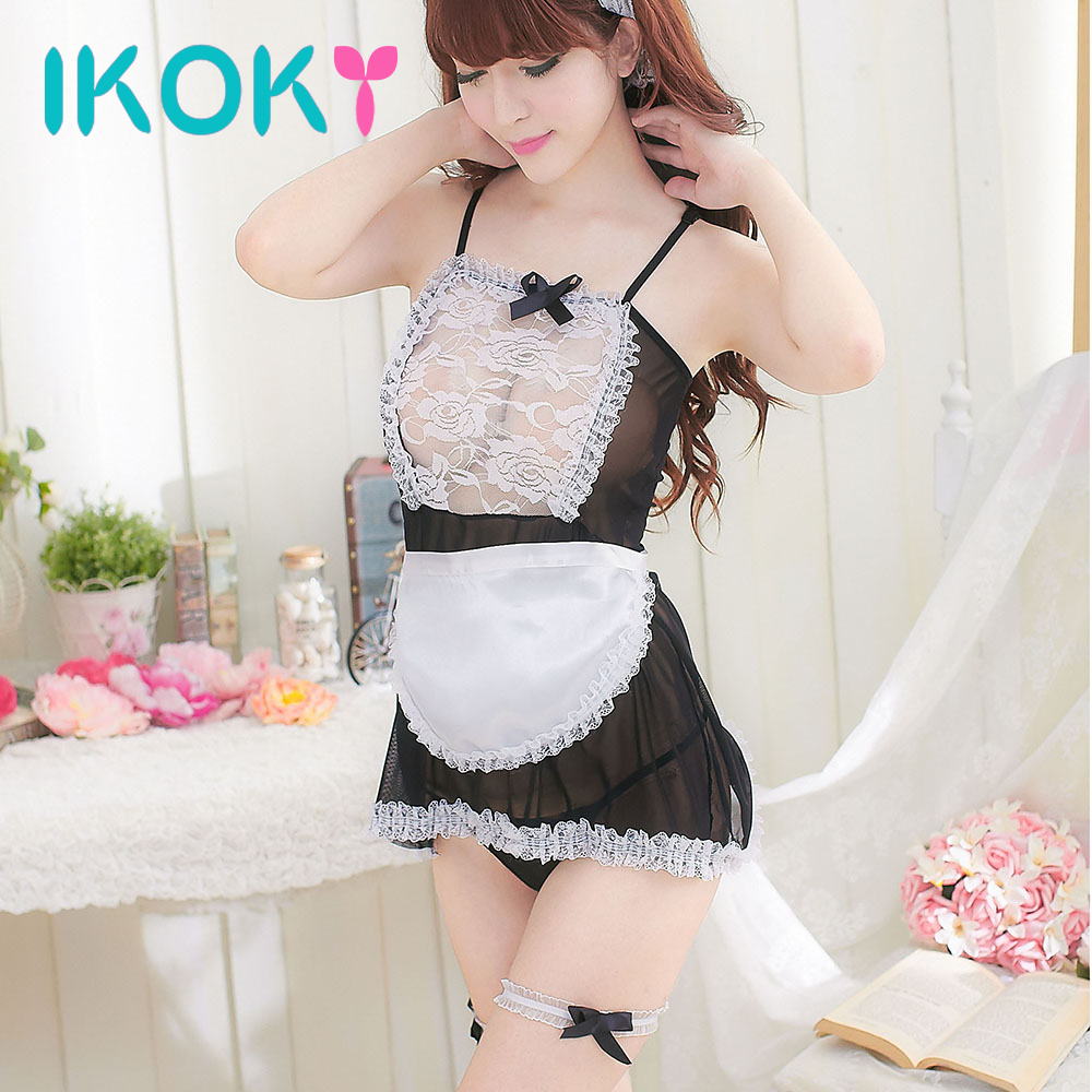 5Pcs/Set Classical Maid Lace Miniskirt Exotic Costumes Underwear Cosplay Sexy Lingerie