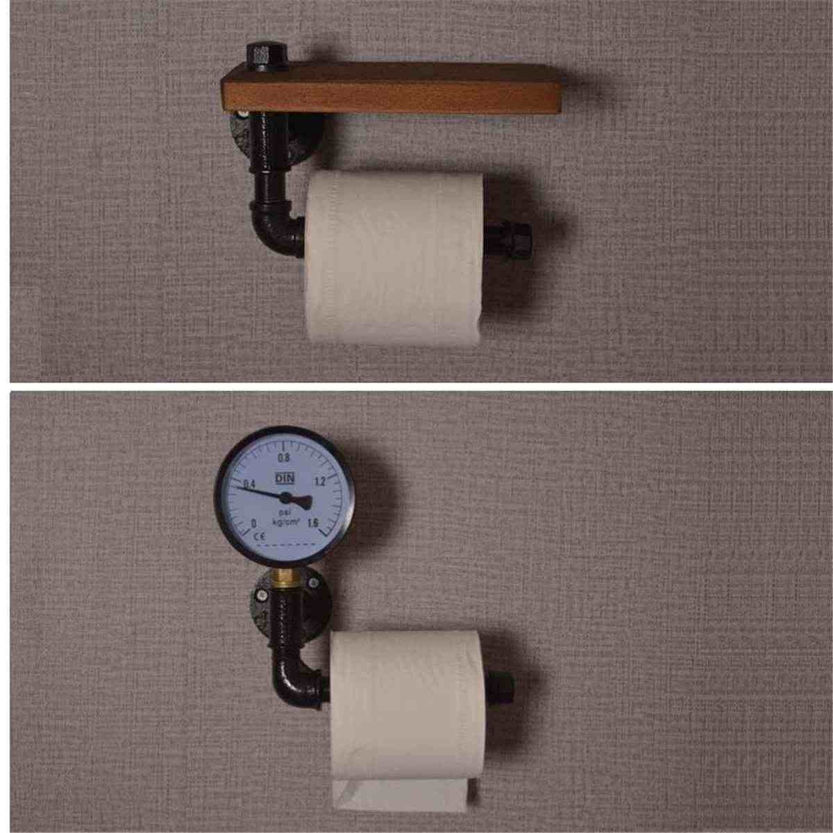 Paper Towel Storage Water Pipe Rack Toilet Paper Roll Holder Pipe Shelf  Rustic Industrial Floating Bathroom Home Roll Paper Box