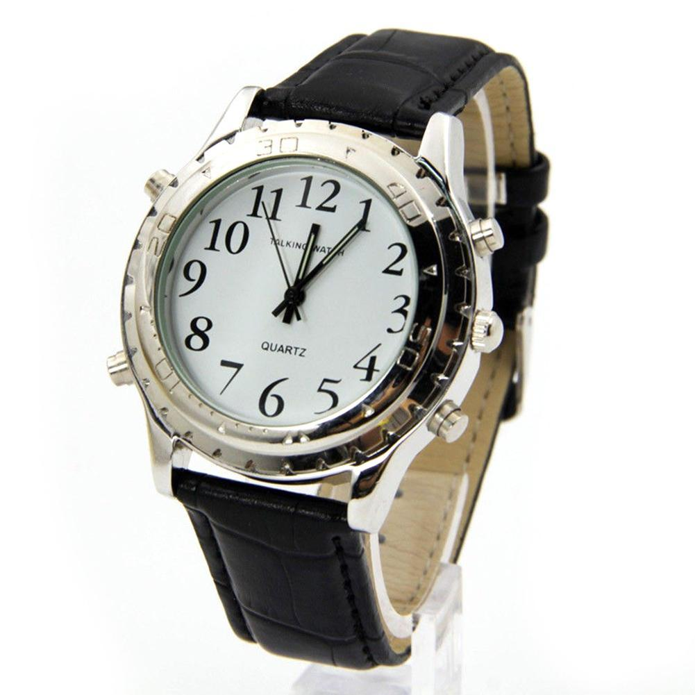 Unisex English Talking Clock Stainless Steel For Blind Or Visually Impaired Watch Men Women Watches Love Gift Wholesale