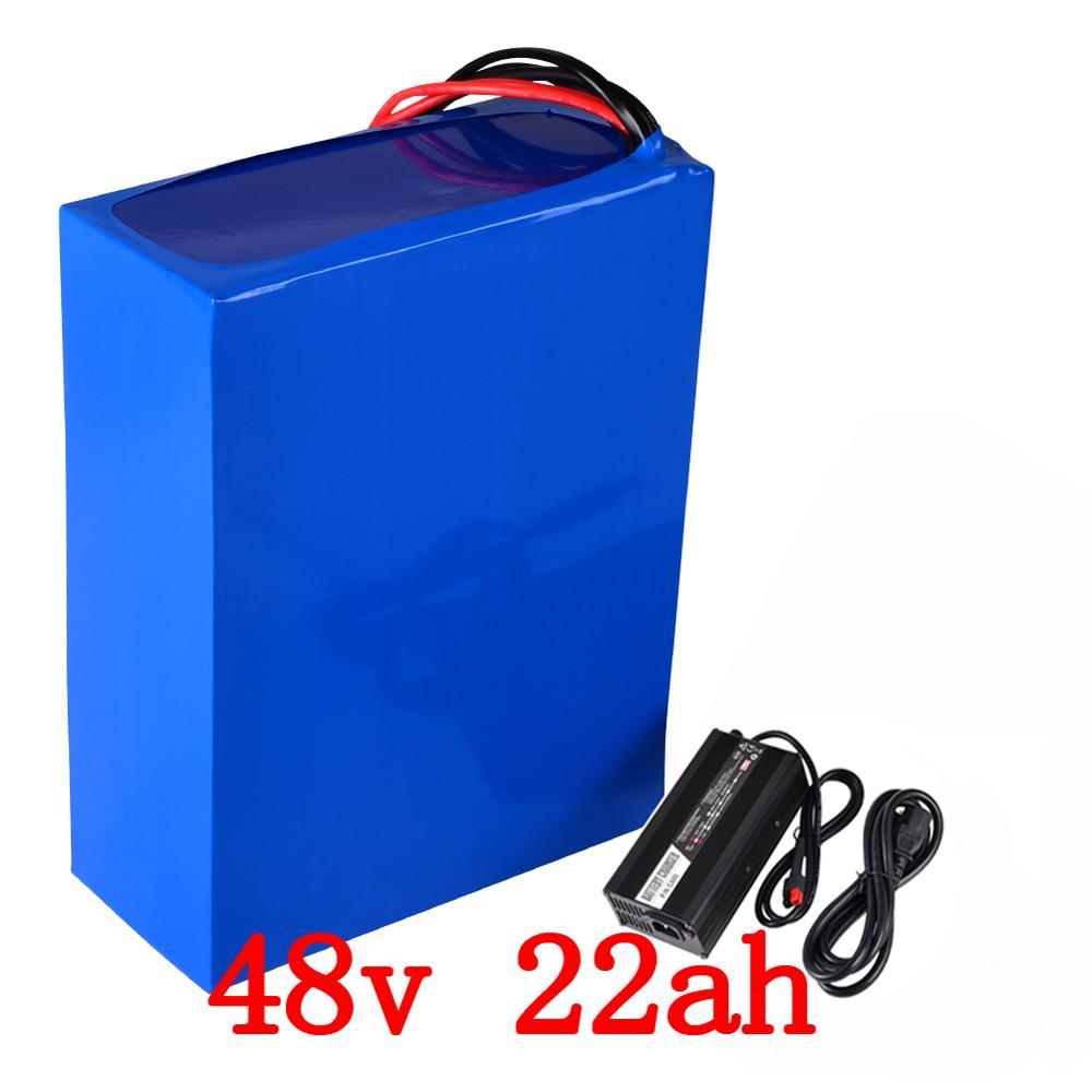 48 v 2000 w batterie 48 v 22AH électrique vélo batterie 48 v 22ah Lithium ion batterie avec 50A BMS + 54.6 v 5A chargeur livraison impôt de douane
