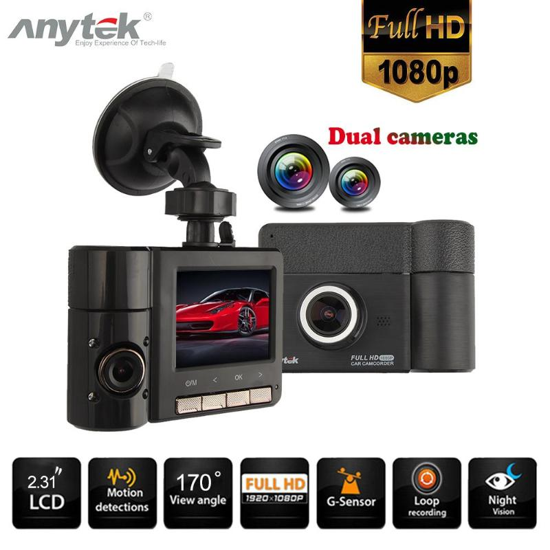Anytek B60 Car DVR Dash Camera 2.31 Inch 1080P Dual Lens Car DVR Camera Video Recorder IR Night Vision Dash Cam Loop Recording