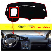 For Peugeot 3008 Anti-UV Dashboard Cover Mats Non-Slip Dash Mat Dashmat Black Carpet Cover Car Accesssory