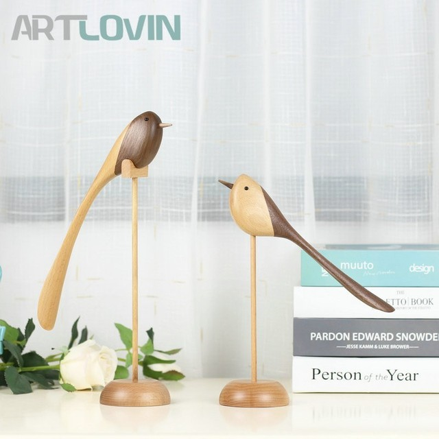 High Quality Wooden Long Tail Bird Figurines For New Year Home Decor Ornaments Luxury Decoration Accessories Wood Crafts Gifts