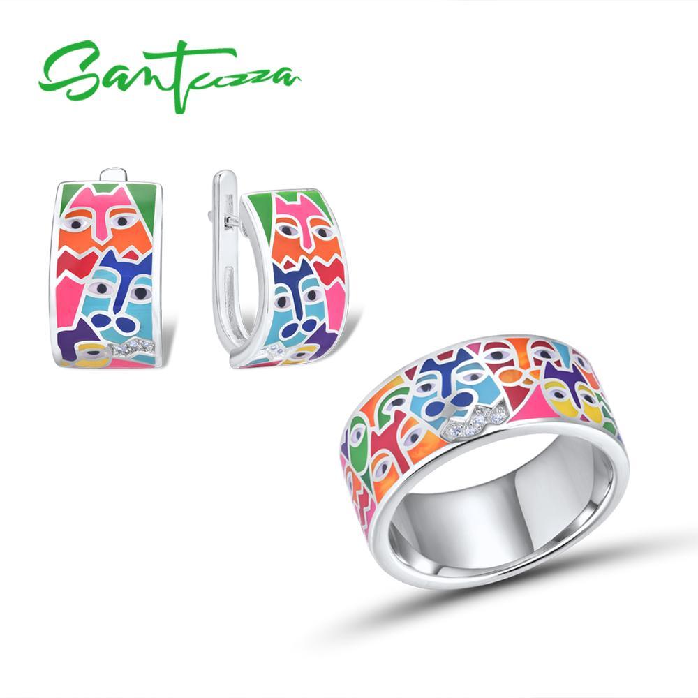 SANTUZZA Jewelry Set Fpr Women 925 Sterling Silver HANDMADE Colorful Enamel Cute Cat White CZ Ring Earrings Set Fashion Jewelry