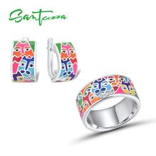 SANTUZZA Jewelry Set Fpr Women 925 Sterling Silver HANDMADE Colorful Enamel Cute Cat White CZ Ring Earrings Set Fashion Jewelry цена и фото